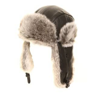 Wholesale real leather black trapper hat