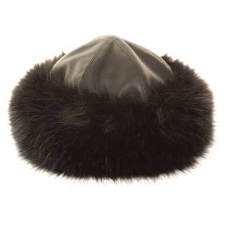Wholesale ladies superior faux leather hat with faux fur trim