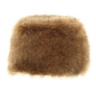 Wholesale ladies luxury faux fur pillbox hat with elastication in brown