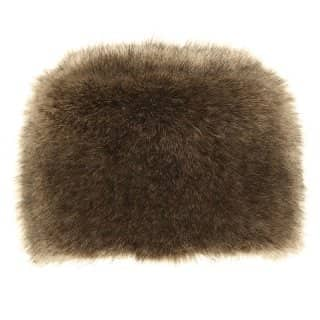 Wholesale ladies luxury faux fur pillbox hat with elastication in grey