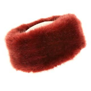 Wholesale ladies quality maroon faux fur headband