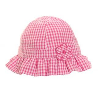 GIRLS PINK & WHITE GINGHAM SUN HAT