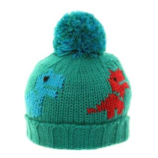 Wholesale green boys chunky knit dinosaur ski hat