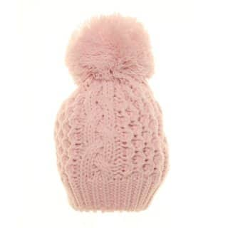 Wholesale pink babies double lined bobble hat