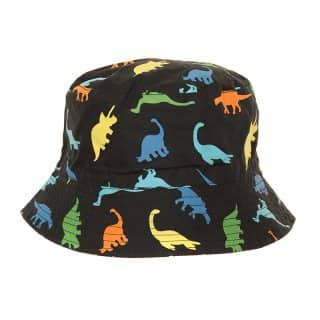 Wholesale baby boys cotton bucket hat with black and multicoloured dinosaur design