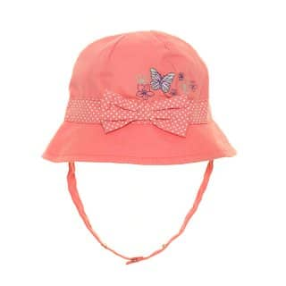 Wholesale baby girls pink cotton bucket hat with bow and butterflies