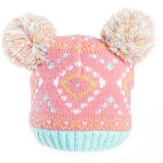 Wholesale pink baby girls jacquard knit double pom pom hat