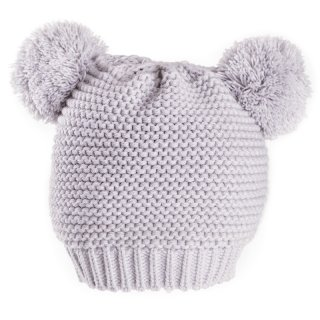 Wholesale grey babies double pom pom hat