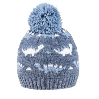 Wholesale baby boys dinosaur knitted bobble hat in blue