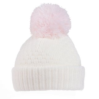 Wholesale white baby girls knitted bobble hat