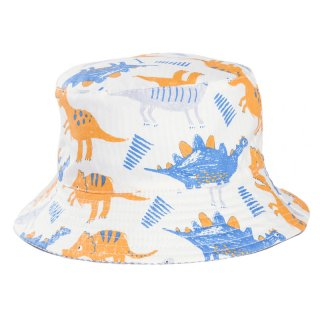 Wholesale grey and blue dino print bucket hat developed from cotton