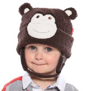 Wholesale babies dark brown soft monkey hat on model