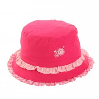 Wholesale girls pink bush hat with pink frill trims