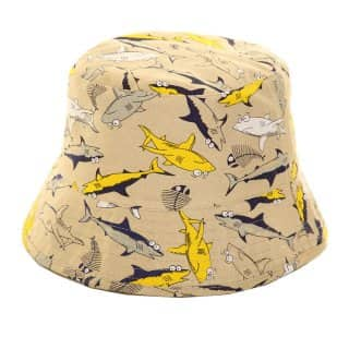 Wholesale brown boys shark print bush hat