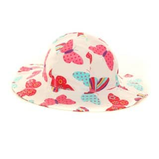 Wholesale girls wide brim white butterfly sun hat
