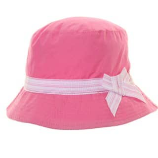 Wholesale girls pink plain bush hat with striped band and bow