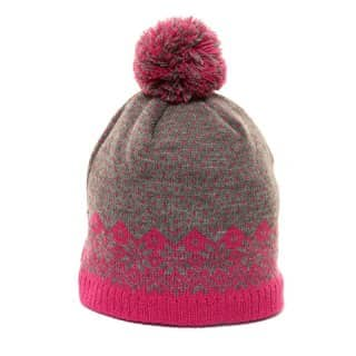 Wholesale girls knitted ski hat with grey and pink wintry design