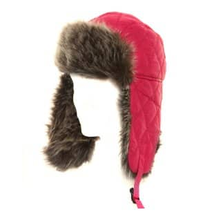 Wholesale girls red quilted trapper hat with faux fur trim