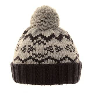 Wholesale black boys 2 tone chunky knit ski hat