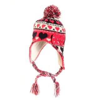 C415 - GIRLS KNITTED PERU HAT WITH HEARTS PATTERN & BOW TRIM