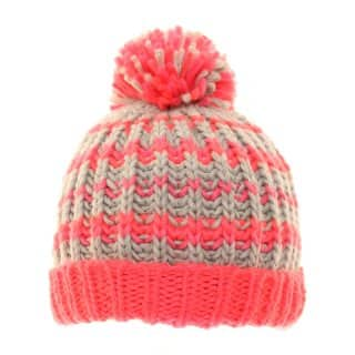 C421 - GIRLS STRIPEY CHUNKY KNIT BOBBLE HAT