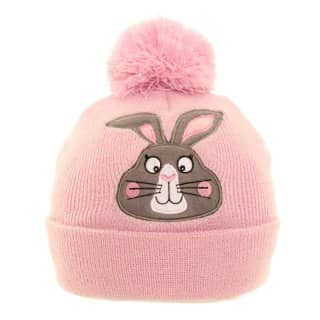 Wholesale girls bunny bobble hat in pink