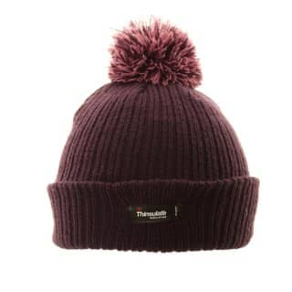 Wholesale kids thinsulate hat in purple featuring a 2 tone pom pom