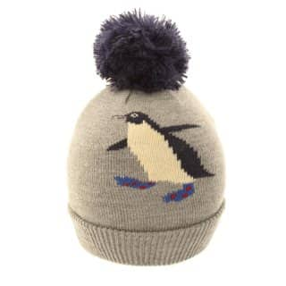 Wholesale kids bobble hat featuring a penguin design in grey