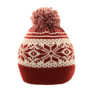 Bulk red and white 2-tone bobble hat
