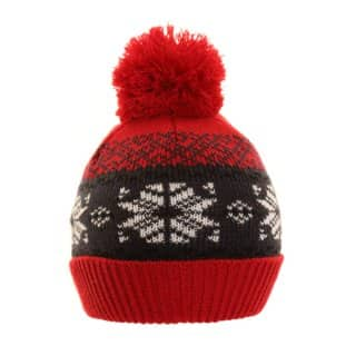 Bulk kids assorted red bobble hat