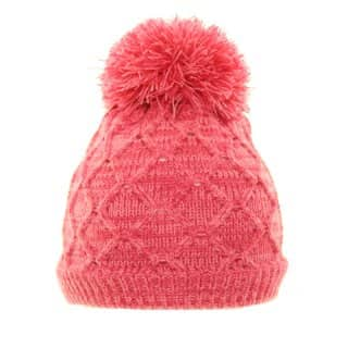 Bulk girls knitted bobble hat with fleece lining