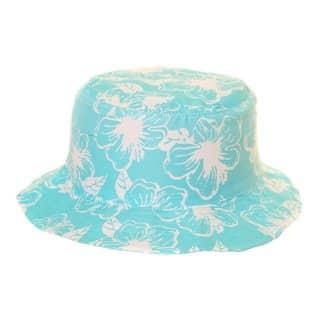 Wholesale kids blue flowery print bucket hat