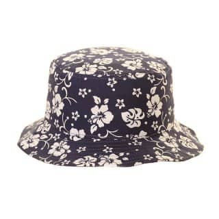 Kids wholesale blue flowery print bucket hat