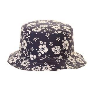 Kids wholesale blue flowery print bucket hat