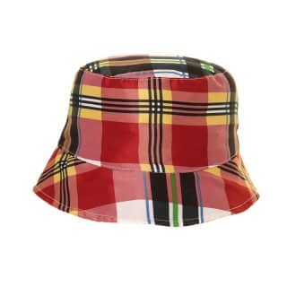 Wholesale red checked boys bucket hat developed from cotton