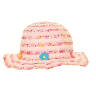 Wholesale short brim hat for girls with pink flower detail