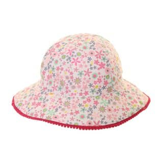 Wholesale wide brim cotton hat with pink flowered pattern for girls