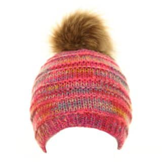 Bulk bobble hat for girls with pink colour scheme and faux fur pompom