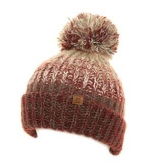 Bulk chunky knitted bobble hat for girls in light pink