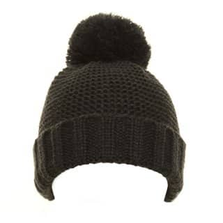 Boys plain navy chunky knit bobble hat from wholesale hat supplier SSP Hats