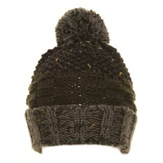 Boys plain navy and green chunky knit bobble hat from wholesale hat supplier SSP Hats