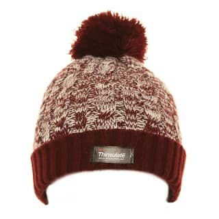 Wholesale kids Thinsulate chunky knit bobble hat in red