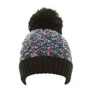 Wholesale girls black bobble hat with popcorn yarn