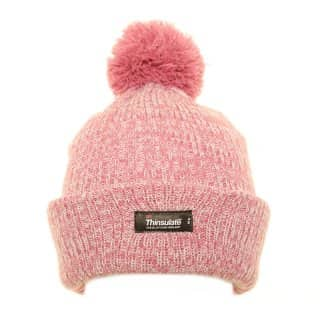 Bulk thinsulate bobble hat for girls with light pink marl effect