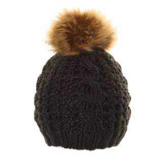 Bulk girls chunky knitted hat with faux fur pompom in black