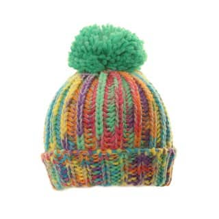 Wholesale chunky knit girls bobble hat featuring a vivid multicoloured design