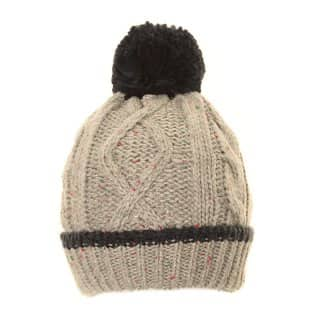 Wholesale knitted bobble hat with grey speckle design for boys