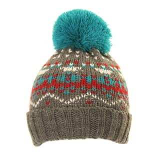 Boys pattern bobble hat with patterned design in grey from wholesale hat supplier SSP Hats