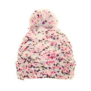 Wholesale pink super soft yarn knitted hat featuring a pom pom