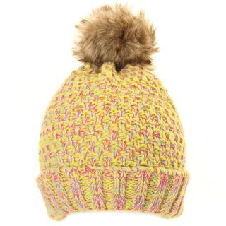 Girls multi coloured knitted yellow bobble hat from wholesale hat supplier SSP Hats